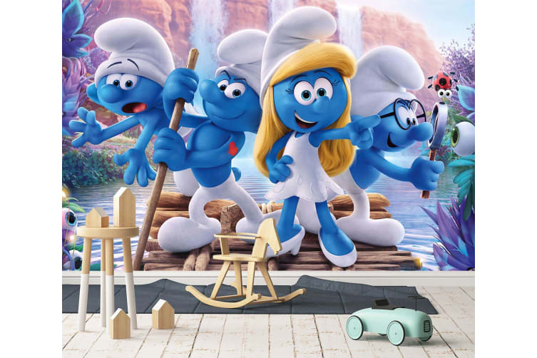 3D The Smurfs Boating 44 Anime Wall Murals Woven paper (need glue), XXXL 416cm x 254cm (WxH)(164''x100'')