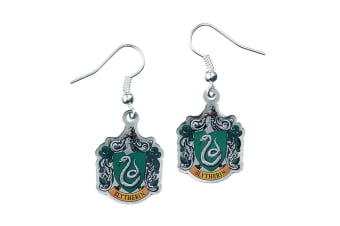 Harry Potter Silver Plated Slytherin Earrings (Multicoloured)