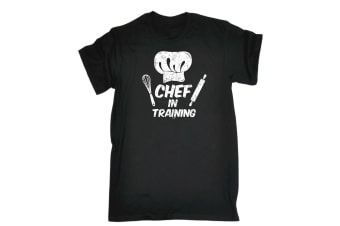 123T Funny Tee - Chef In Training - (5X-Large Black Mens T Shirt)