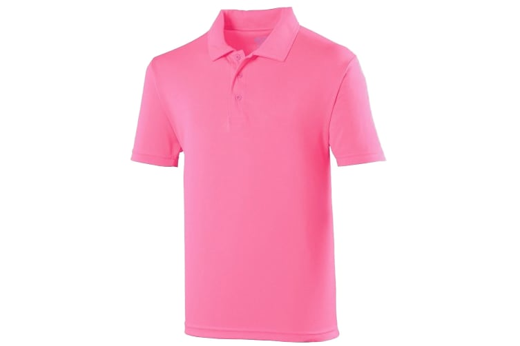 Just Cool Mens Plain Sports Polo Shirt (Electric Pink) (L)