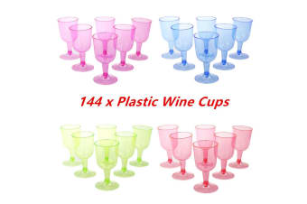 144 x 150ml Colored Disposable Plastic Wine Cups Wedding Party Glass Function