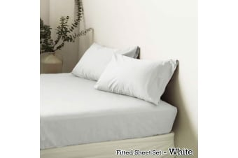 Polyester Cotton Fitted Sheet Set White King by Apartmento