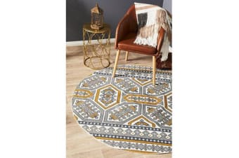 Gold & White Hand Braided Cotton Retro Flat Woven Rug - 200X200CM
