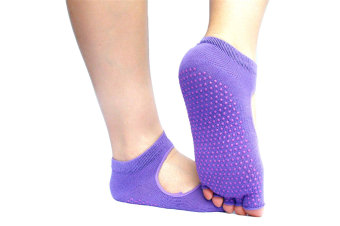 Non Slip Skid Yoga Pilates Barre Socks with Grips for Women and Men Purple