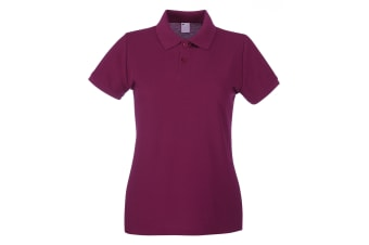 Womens/Ladies Fitted Short Sleeve Casual Polo Shirt (Oxblood)