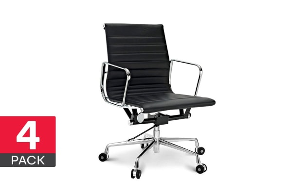 4 Pack Ergolux Executive Eames Replica Low Back Ribbed Office Chair (Black)