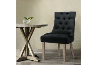 Artiss Dining Chairs French Provincial Wooden Fabric Retro Cafe Chairs Black