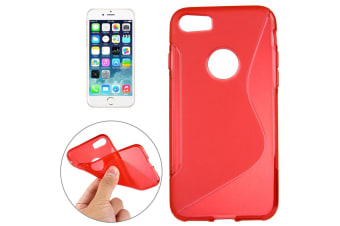For iPhone 8 7 Case Stylish Grippy S-Shaped Durable Protective Cover Red