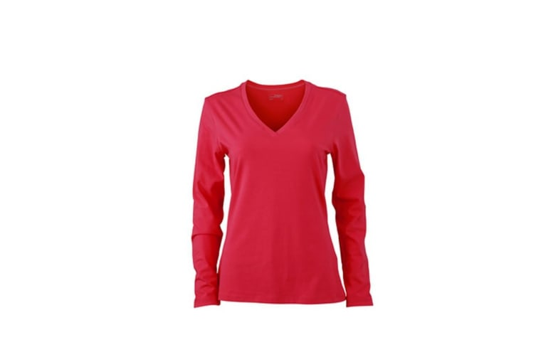 James and Nicholson Womens/Ladies Stretch V-Neck Long-Sleeved Shirt (Pink) (M)