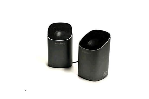 Enzatec SP302 2.0 Speaker 2x2.5W 3.5mm Plug Retractable Cable Rechargeable Battery Aluminium Black