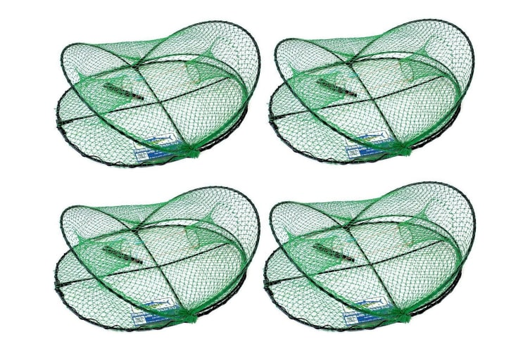 4 X Wilson Folding Opera House Traps-Four Pack-Green Yabbie Net-75mm Rings