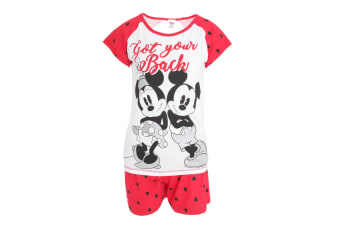 Disney Womens/Ladies Mickey And Minnie Mouse Short Pyjamas (White/Red)