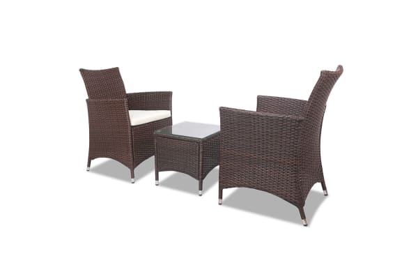 3-piece Outdoor Chair and Table Set (Brown)