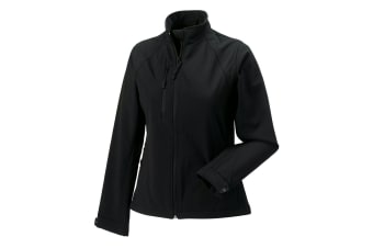 Jerzees Colours Ladies Water Resistant & Windproof Soft Shell Jacket (Black) (L)