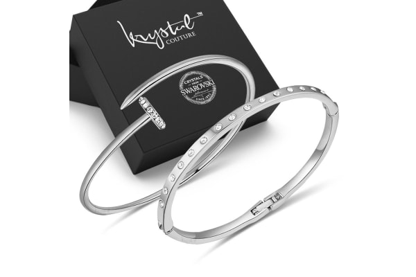 Boxed Set Nayraa White Gold Bangle Sets-White Gold/Clear