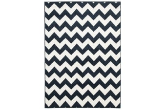 Indoor Outdoor Zig Zag Rug Navy
