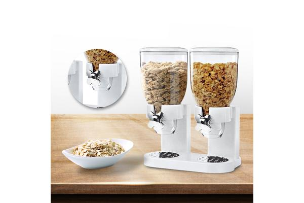 Double Cereal Dispenser Dry Food Storage Container White