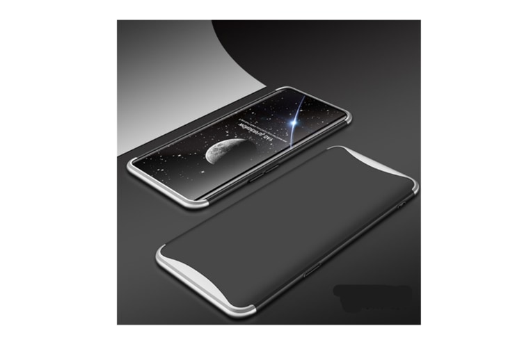 Frosted Shield Matte Plastic Ultra Thin Shockproof Case For Oppo Find X Silver+Black Oppo Find X