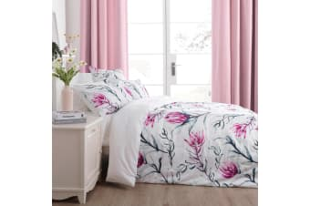 Dreamaker 300TC Cotton Sateen Printed Quilt Cover Set Pink Artichoke Flower Super King Bed