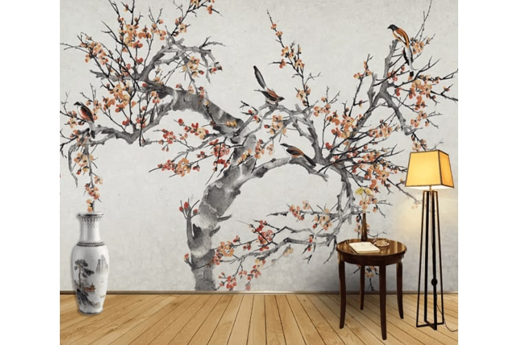 3D Ink Painting Plum Blossom 1219 Woven paper (need glue), XXL 312cm x 219cm (WxH)(123''x87'')