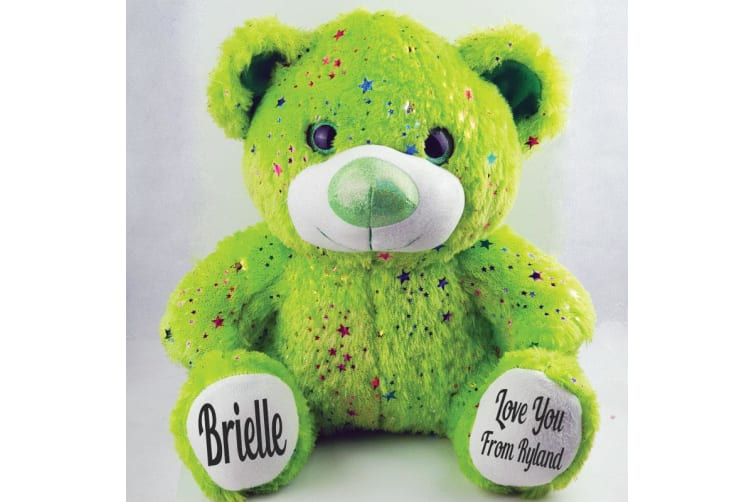 Personalised Message Teddy Bear 40cm Hollywood Lime