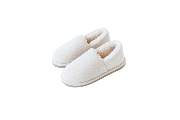 Comfy Fuzzy Knit Cotton Memory Foam House Shoes Slippers - Beige White 37-38(240Mm Length)