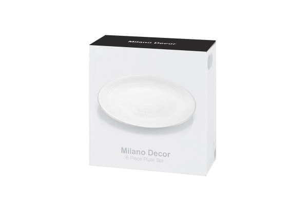 Milano Decor Stoneware 6 Pcs Plate Set - White