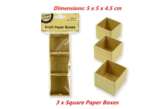 3 x Square Paper Mache Kraft Box High Container Storage Brown Craft Boxes 5x5x4.5cm