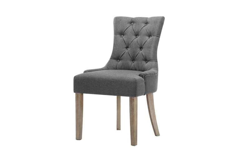 Artiss Dining Chair French Provincial Chairs Wooden Fabric Retro Cafe Grey x2