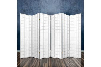6 Panel Room Divider Screen Wood Timber Dividers Fold Stand White
