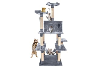 PawZ 1.83M Cat Scratching Post Tree Gym House Condo Furniture Scratcher Tower Grey