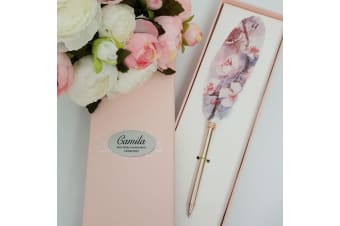 Communion Feather Pen Personalised Gift Box Purple Floral