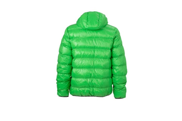 James and Nicholson Mens Down Jacket (Green/Carbon Grey) (3XL)