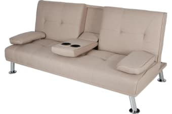 Hela 3 Seater Sofa Bed W/ 2 Cup Holder | Beige