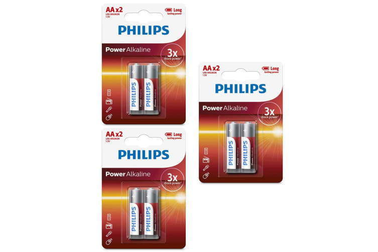 6PK Philips AA Power Alkaline Battery LR6 1.5V - Long Lasting