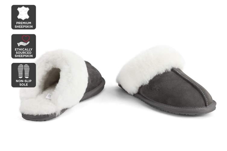 Outback Ugg Slippers - Premium Sheepskin (Grey, 7M / 8W US)