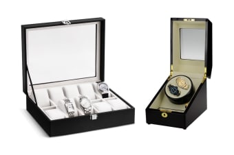 Dual Automatic Watch Winder and Storage Box & Display Case Combo
