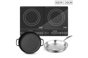 SOGA Dual Burners Cooktop Stove, 30cm Cast Iron Frying Pan Skillet and 30cm Induction Fry Pan