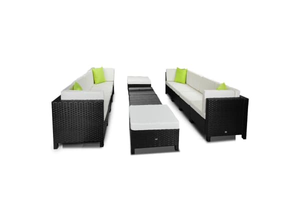 LONDON RATTAN 12pc Outdoor Furniture Setting Lounge Patio Wicker Sofa Set Black