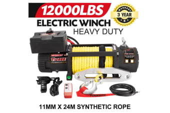 TUNGSTEN Electric Winch 12000LBS 12V Wireless Synthetic Rope Remote 4WD ATV BOAT TRUCK