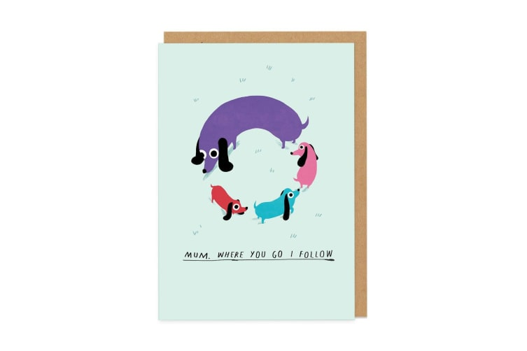Ohh Deer Dog Circle Greeting Card (Multicoloured) (One Size)