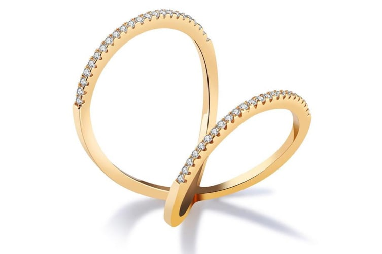 Sexy Aloriah 18K Yellow Gold Plated Fashion Ring-Gold/Clear Size US 8