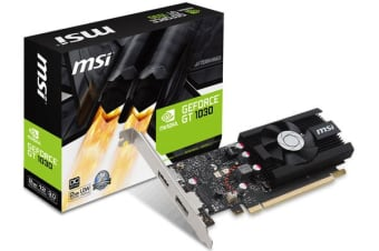 MSI NVIDIA GT 1030 2GB OC Low Profile Video Card - GDDR5 DP/HDMI 1265/1518MHz