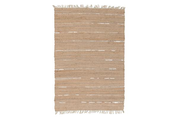Saville Jute and Leather Rug Natural 220x150cm