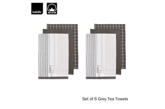 Set of 6 Bake Me Happy Kitchen / Cleaning 100% Cotton Grey Tea Towels by Ladelle