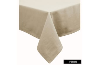 Cotton Blend Table Cloth 180cm Round - PEBBLE