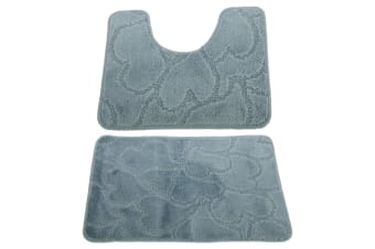 2 Piece Heart Patterned Bath Mat And Pedestal Mat Set (Blue) (One Size)