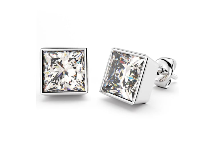 .925 Bezel Princess-Cut Studs 6mm-Silver/Clear
