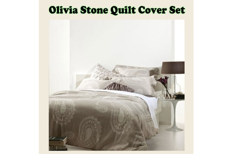 Olivia Stone Quilt Cover Set King by Gainsborough
