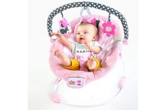 Bright Starts Baby/Infant Minnie Mouse Bouncer/Rocker/Chair w/Music/Toy From 0M+